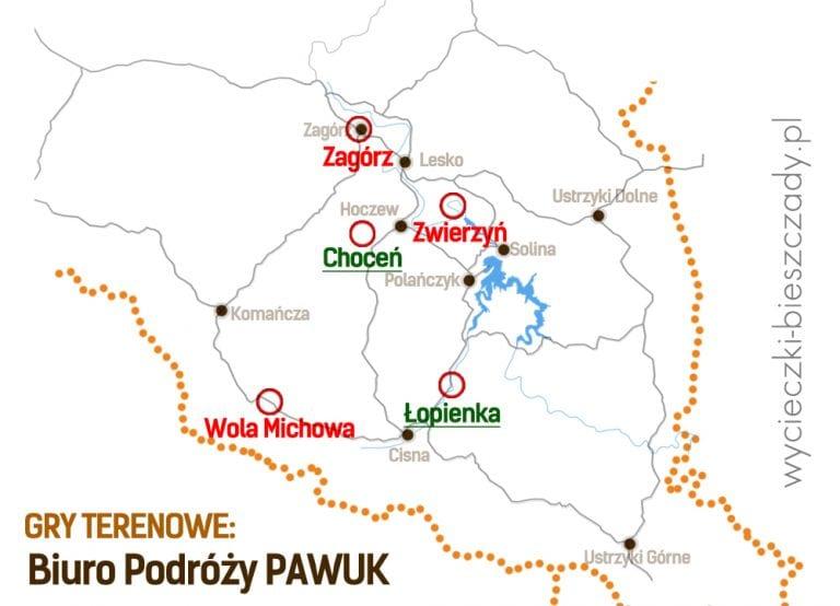 Gry terenowe w Bieszczadach - mapa